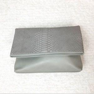 Lupoluna Gray Faux Snake Skin Folded Clutch - NWT